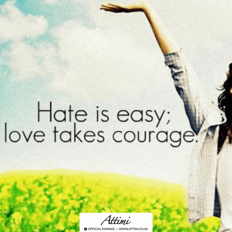 aphorism Hate is easy love take courage