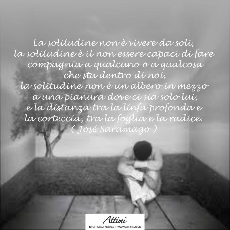 La solitudine non è vivere da soli, la solitudine è il non essere capaci di fare compagnia a qualcuno o a qualcosa che sta dentro di noi, la solitudine non è un albero in mezzo a una pianura dove ci sia solo lui, è la distanza tra la linfa profonda e la corteccia, tra la la foglia e la radice. ( Josè Saramago )