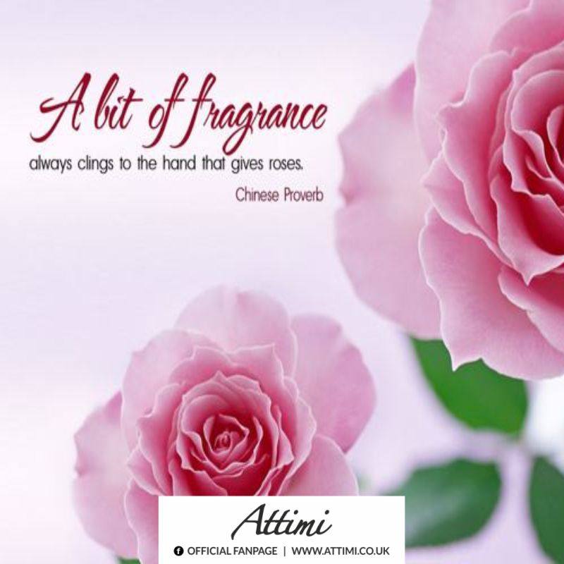 A bit of fragrance always clings to the hand that gives roses.