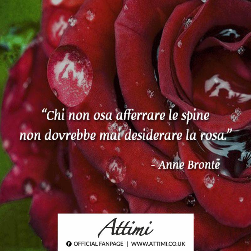 Chi non osa afferrare le spine non dovrebbe mai desiderare la rosa. (Anne Bronte)