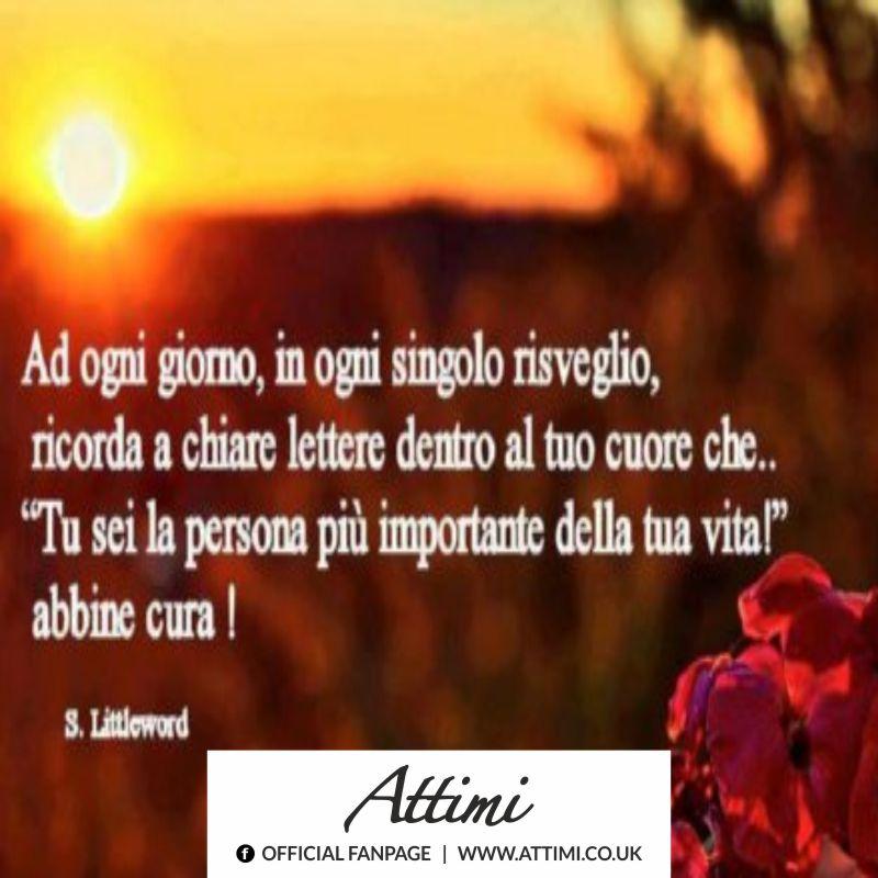 Ad ogni giorno, in ogni singolo risveglio, ricorda a chiare lettere dentro al tuo cuore che… Tu sei la persona più importante della tua vita! Abbine cura! (S.Littleword)