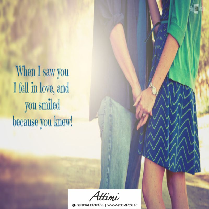 When I saw you I fell in love, and you smiled because you knew!