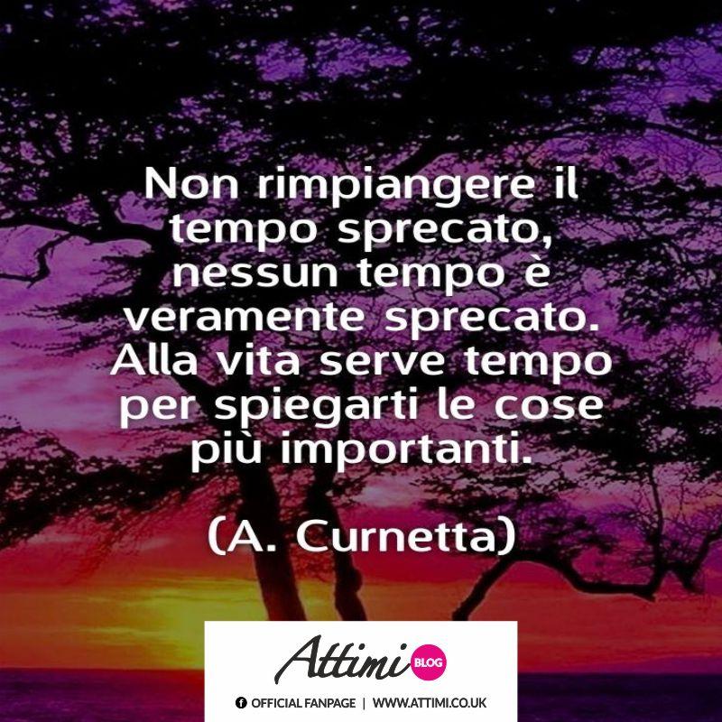 Non rimpiangere il tempo sprecato, nessun tempo è veramente sprecato. Alla vita serve tempo per spiegarti le cose importanti. (A. Curnetta)
