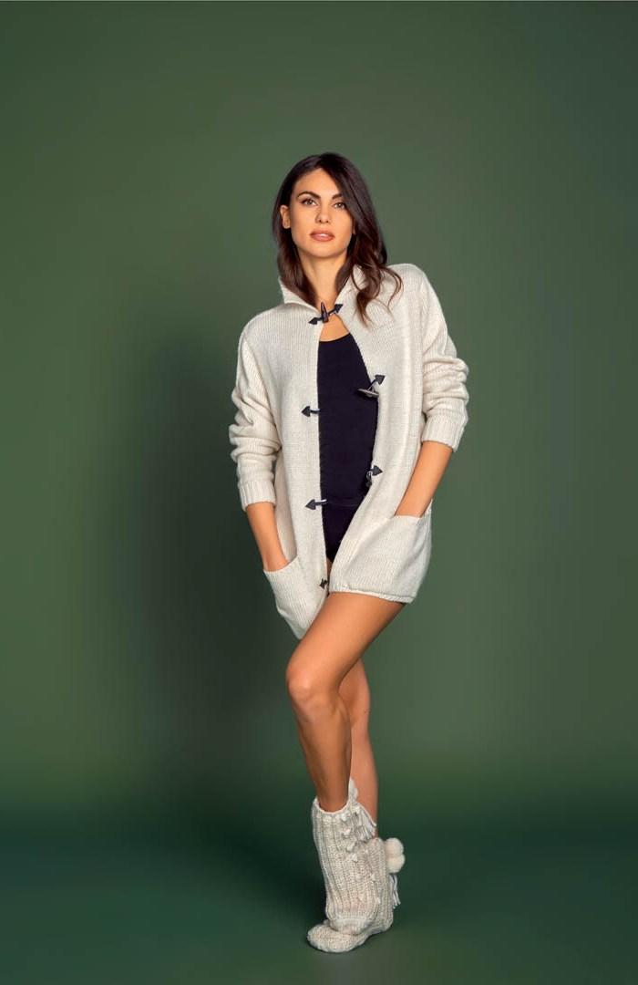 Giacca in tricot grigio con alamari Donna - ATK25