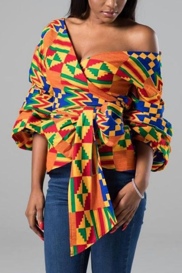African Prints Tops | Wrap Tie Crop Top | ANNA