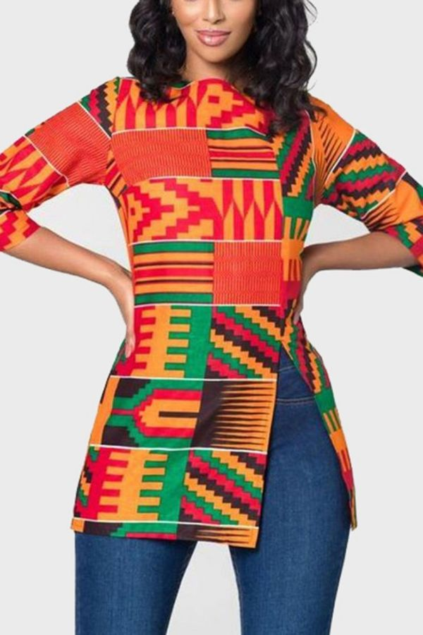 Kente African Prints Tops | Side Slit Top | CHATA