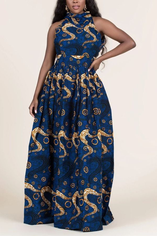 Ankara Print Dress | Round Tie Neck Maxi Dress | OYIN