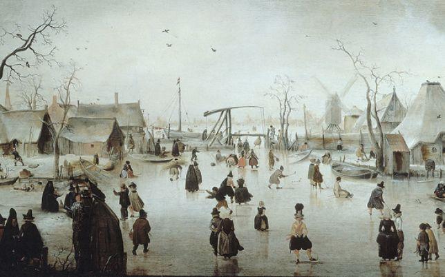 Pintura por Hendrick Avercamp exposto no Rijksmuseum, em Amsterdã. (Mínimo de Maunder ...