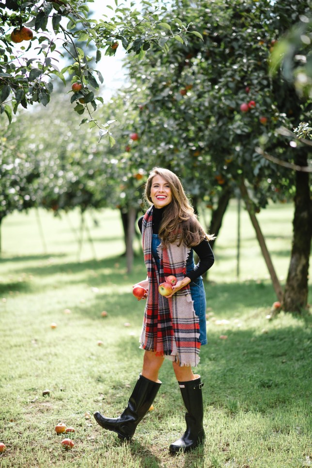 apple picking, plaid scarf, www.attn-to-detail.com