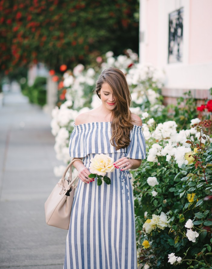 ark & co dress, blue striped dress, off the shoulder dress, attn to detail, megan yazdani, stop and smell the roses