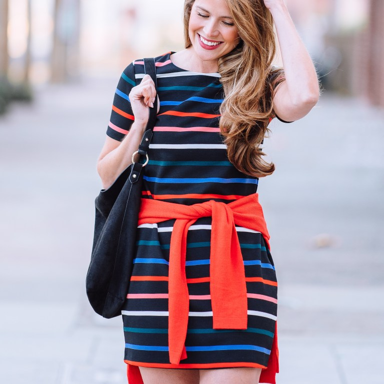 oldy navy multicolor striped dess, old navy dress, attn to detail, megan yazdani
