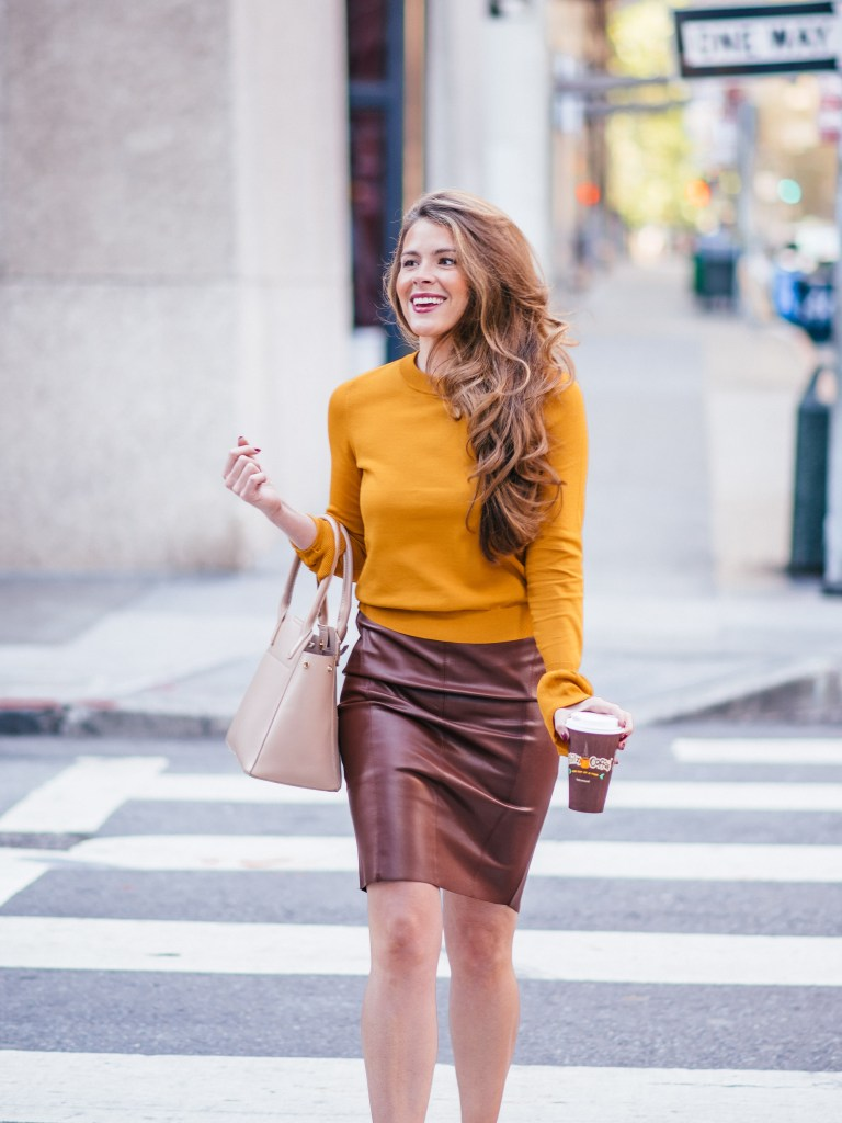 bell sleeve sweater, flare cuff sweater, brown leather skirt, pencil skirt, leith sweater, workwear, megan yazdani, attn to detail, attention to detail