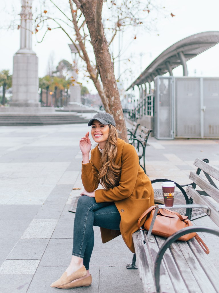 wilfred cocoon coat, aritzia wool coat, camel coat aritzia, coat and ball cap, wool ball cap, megan yazdani, attn to detail