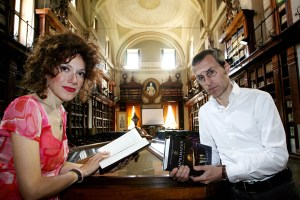 "ROME - MAY 3 : Rita Monaldi and Francesco Sorti, authors of the book ""Inprimature"" (pegged as the next 'Da Vinci Code') pose at the Archive of State were they found two books with the elements for starting their novel, on May 3, 2008 in  Rome - Italy). (Photo by Franco Origlia/Getty Images FOR THE INDIPENDENT)  *** Local Caption *** Rita Monaldi;Francesco Sorti"