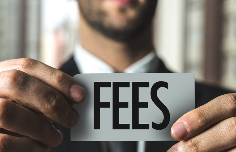 Man holding Fees sign shows Contingency Fees