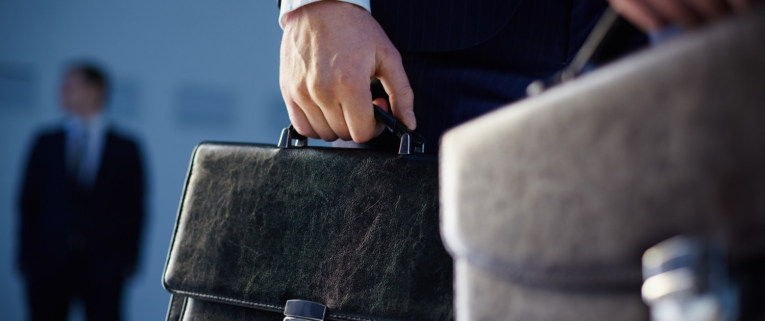 Business law person carrying briefcase