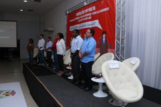 Cadeira vazia reservado ao prefeito Edivaldo Holanda Júnior, que faltou a mais um debate