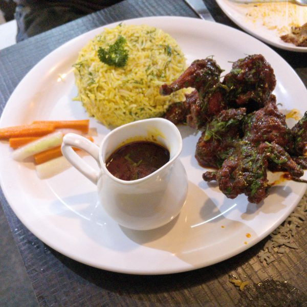 Flying Duck Quail with Sauce and Butter Rice