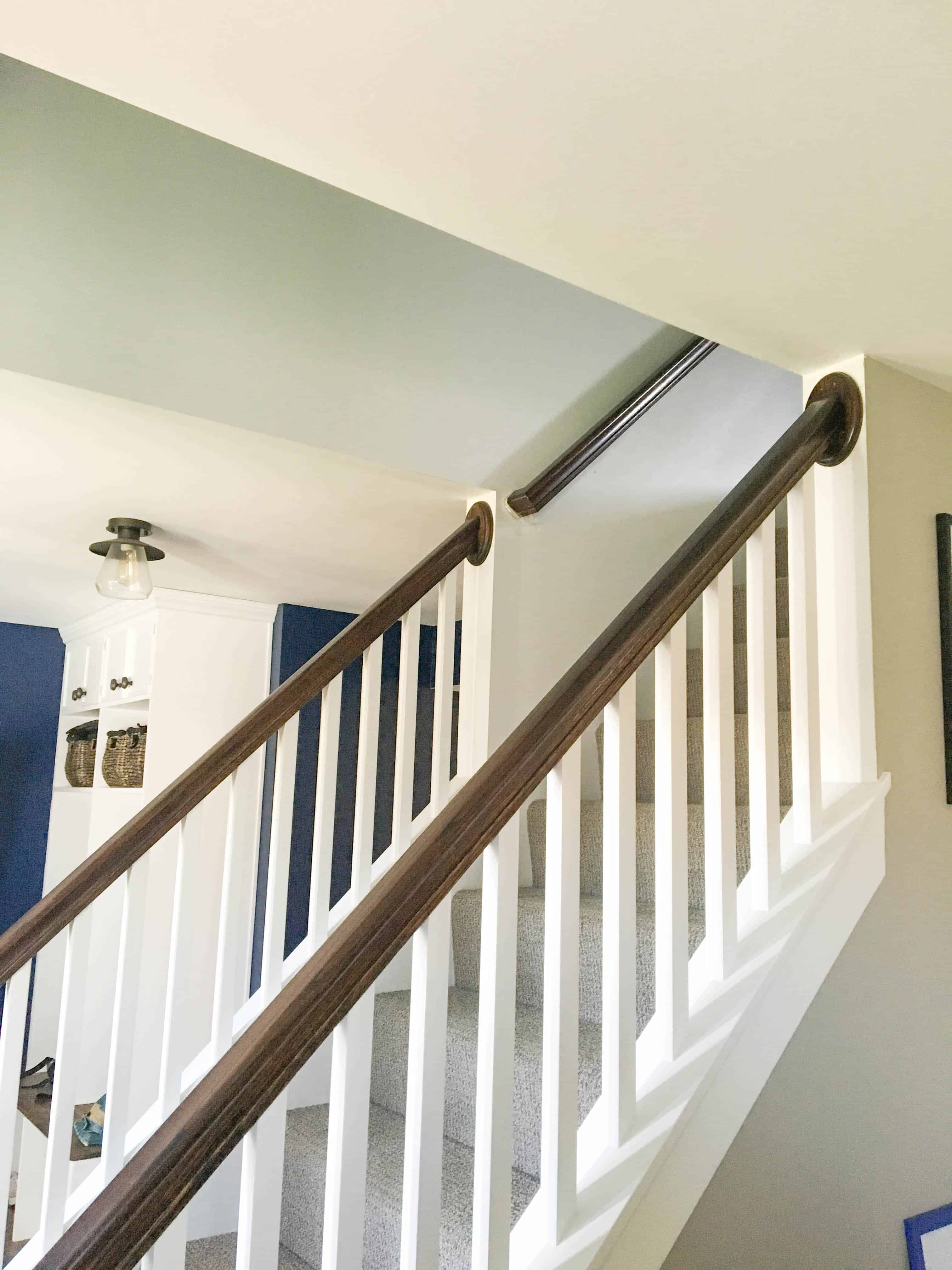 How To Paint High Walls On Stairs A Turtle S Life For Me   Stair Wall Colour Design   Wood Wall   Before And After   Room Wall   Hall Colour Combination   Family