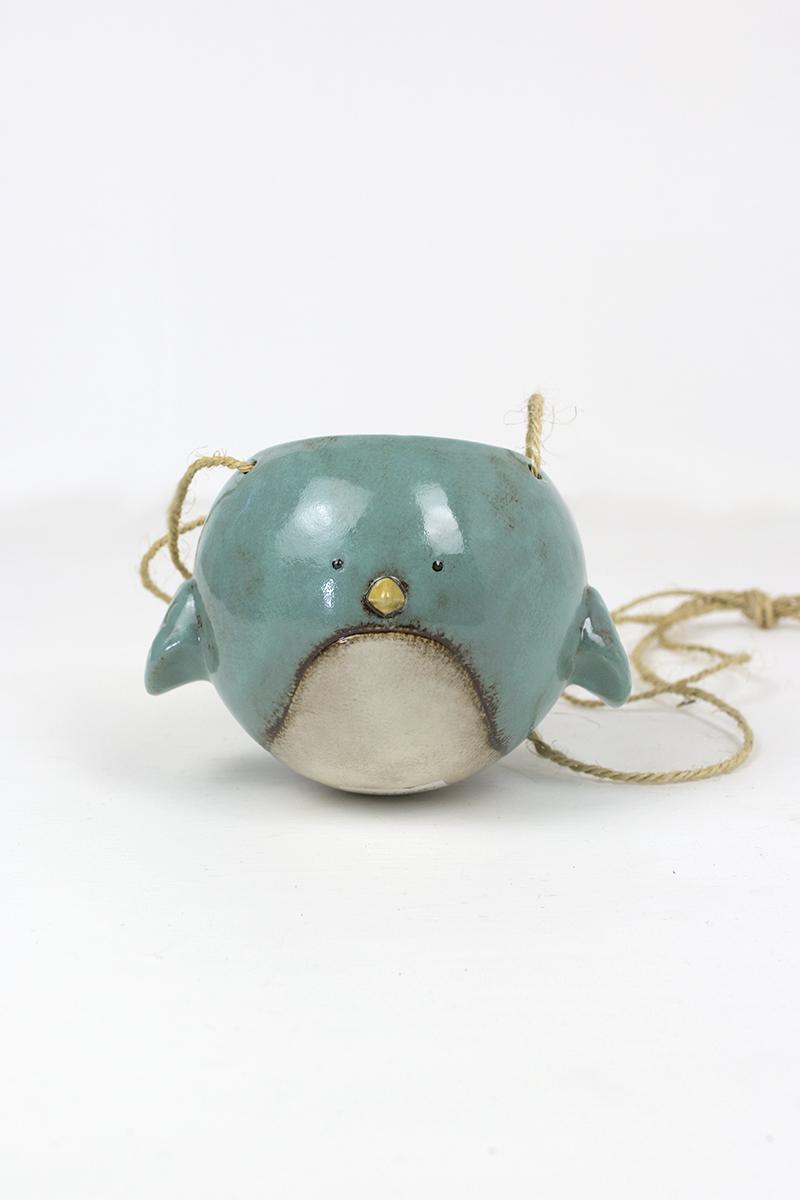 Ceramic Hanging Planter Blue Bird