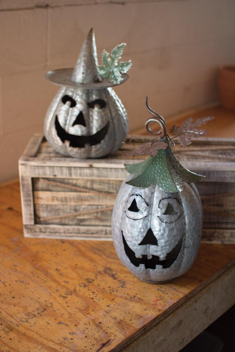 Set Of 2 Galvanized Jack O Lanterns