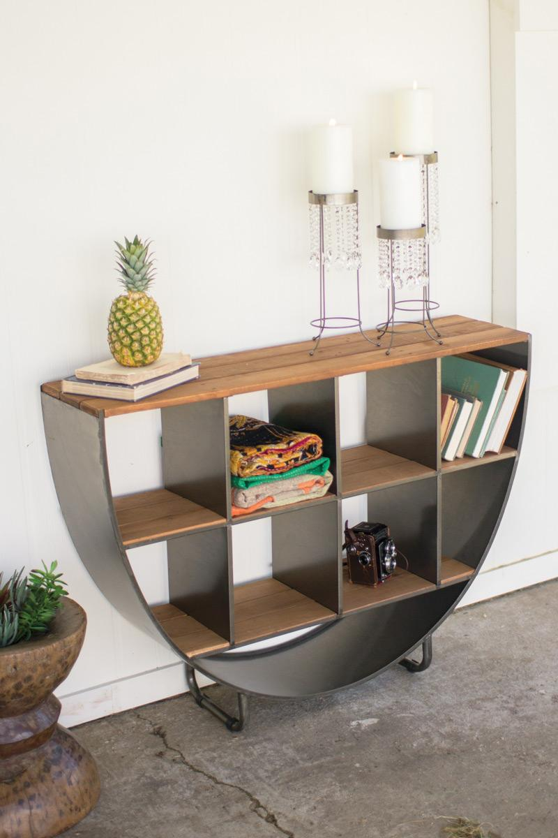 Round Metal Cubby Console With Recycled Slatted Wood Top