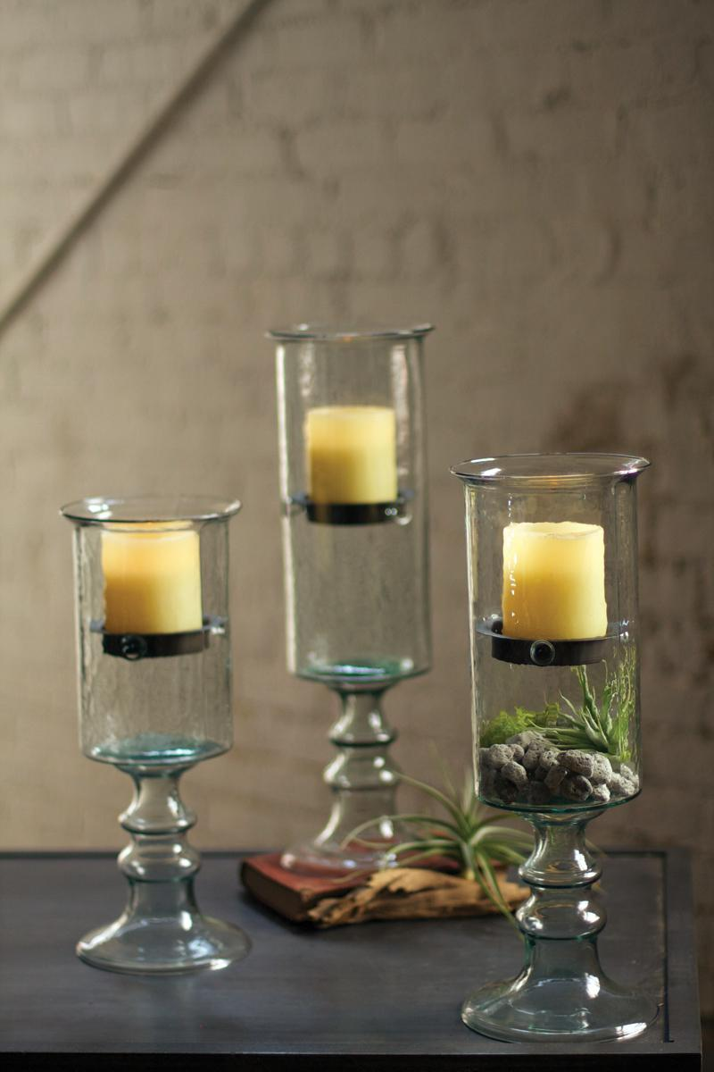 Large Mini Glass Candle Cylinder With Metal Insert And Glass Base
