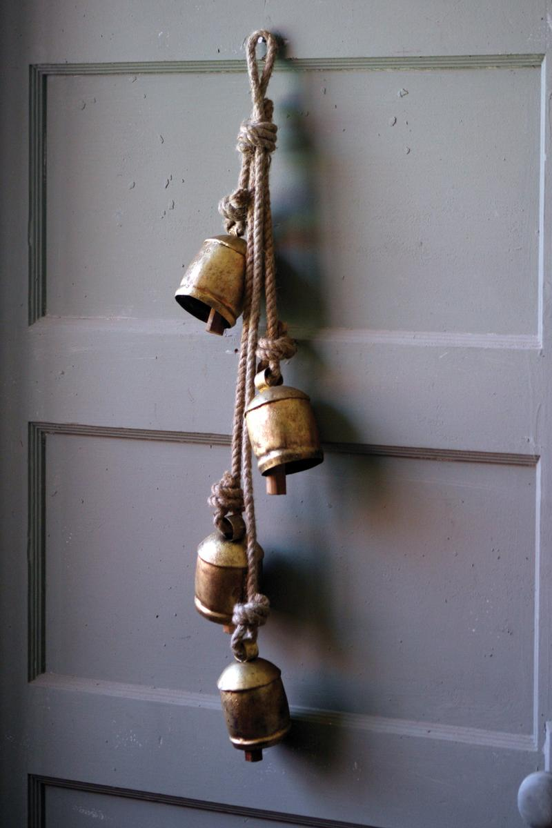 4 Rustic Iron Hanging Bells With Rope