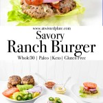 """Pinterest image for Savory Ranch Burger. Top Image is a side view of a Ranch burger on top a bed of lettuce with a round white plate. Atop the burger red onion, tomato, mustard, ketchup, jalapeño and avocado. There is a bowl of mustard and a bowl of ketchup above the plate. Next to it is a cut off plate with burger and red onion. Middle image is text stating """"Savory Ranch Burger"""". Bottom Image is is o top angled view of the savory Ranch Burger on a bed of lettuce on a white place. On the burger there is tomato, purple onion and jalapeño. In the background are bowls of ketchup and mustard. To the top right is a plate of lettuce, tomato, onion, savory ranch burgers and avocado. To the top right is a bowl of ketchup and a bowl of mustard. https://www.atwistedplate.com/savory-ranch-burger/"""