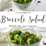 """Pinterest Image for Irish Potatoes. Top image is a close up top angled view of Broccoli salad in a clear bowl against a white background. There are walnuts and dried cranberries scattered around and a white towel behind the bowl of broccoli salad. Below is a white text post stating """"Broccoli Salad"""" Bottom image Close up top angled view of Broccoli salad in a clear bowl against a white background. there are walnuts and dried cranberries scattered around and a white towel behind the bowl of broccoli salad. https://www.atwistedplate.com/broccoli-salad/"""