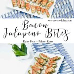 """Pinterest image for Bacon Jalapeño Bites. Top and bottom image of Bacon Jalapeno Bites on a white rectangle plate against a blue and white towel. There is a bowl of jalapeños next to the plate. In between the two images is a text box that says """"Bacon Jalapeno Bites"""". www.atwistedplate.com/bacon-jalapeno-bites/"""