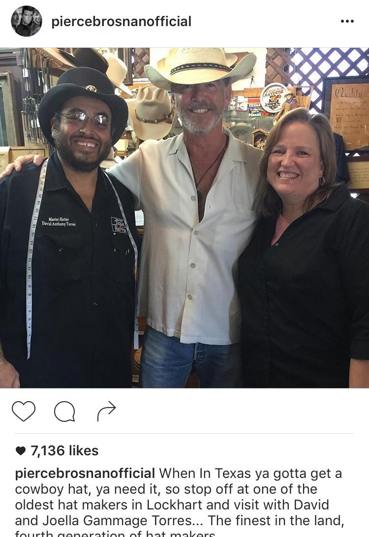 Pierce Brosnan in cowboy hat