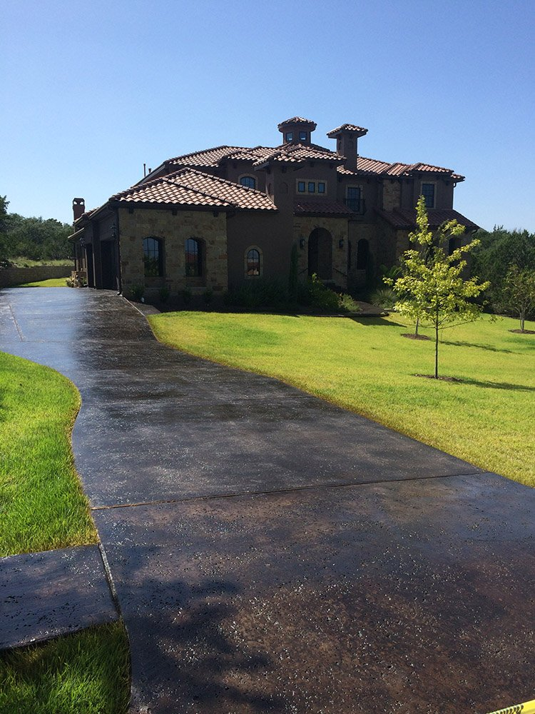 stained driveway