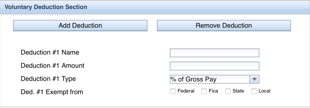 Paycheck City Deductions Section