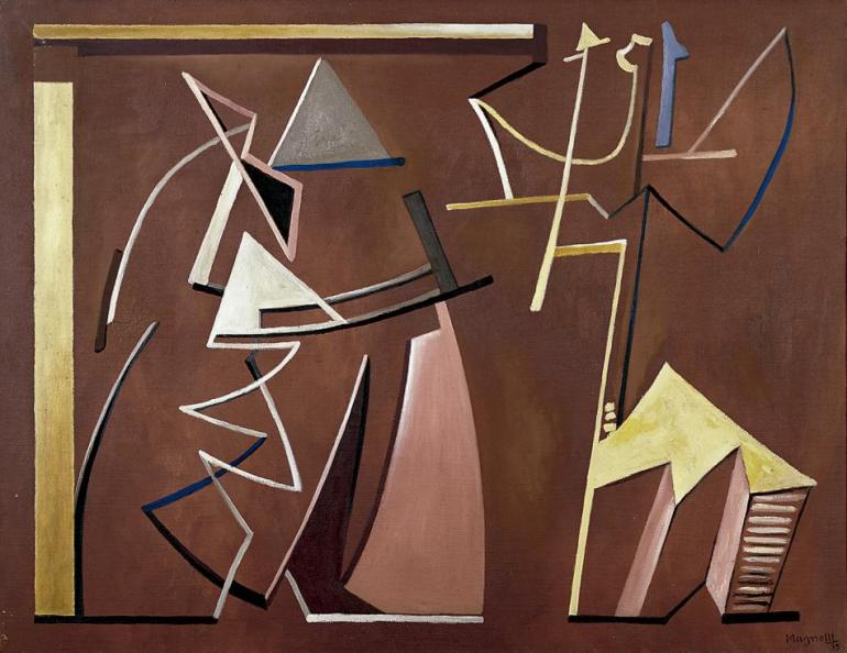 "A. Magnelli, ""Conciliabules distraits"", 1935 oli sobre tela 100 x 130 cm."