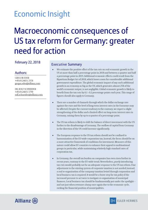 Macroeconomic consequences of US tax reform for Germany: greater need for action