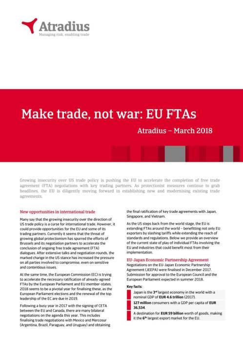 Make trade, not war: EU FTAs