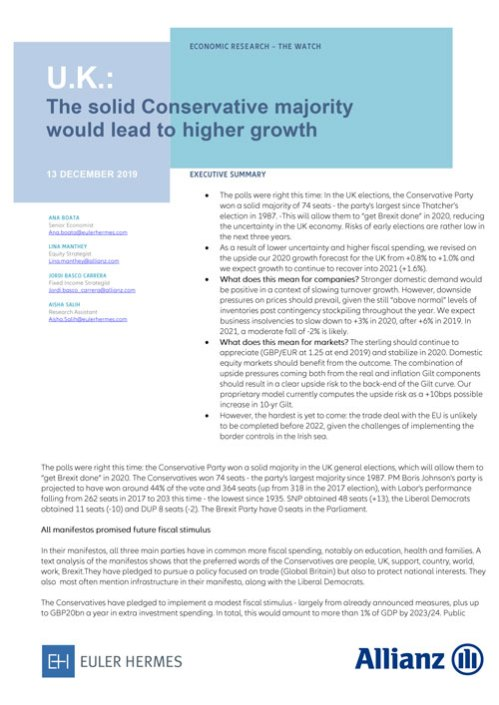 UK: The solid Conservative majority would lead to higher growth