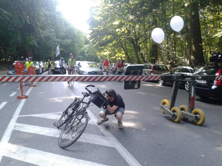Exemple de mauvaise aménagement cycliste... impossible de traverser à vélo une zone pour vélo