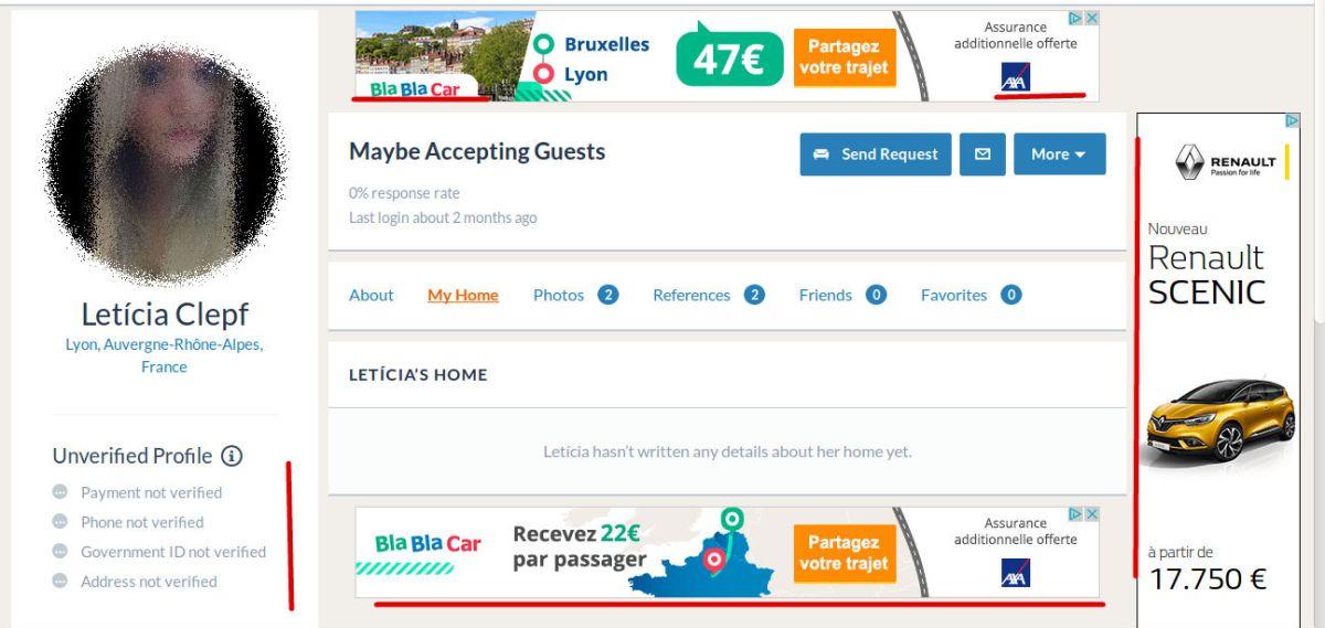 Couchsurfing met maintenant plein de publicité et demande des renseignements, qu'ils pourraient potentiellement revendre.