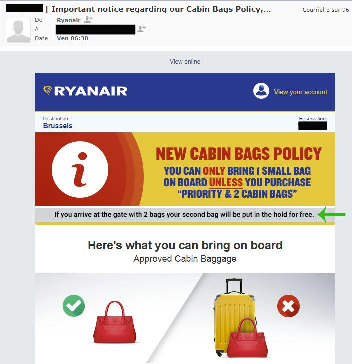 Ryanair bagage cabine conditions