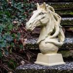 Gartenskulptur Links Pferdekopf Pferd Skulptur Rost Garten Eisen Antik Stil Figuren Skulpturen