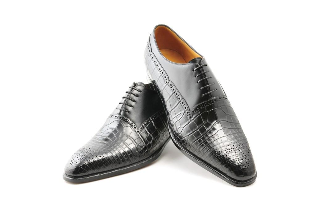 Le richelieu oxford Speke en bi matière cuir et crocodile