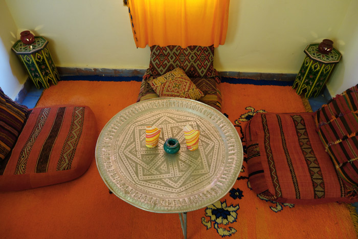 Moroccan lounge at Desert Hotel Auberge Cafe du Sud