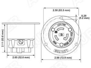 Leviton 240V 30A NEMA L630R Flanged Outlet Locking Receptacle [L630RF]  $3380 : Auber