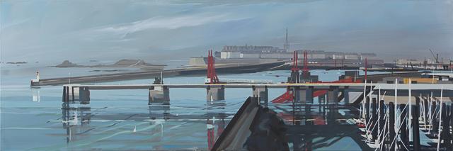 Peinture du port de Saint Malo par Michelle AUBOIRON