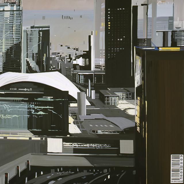 Les tours, le CNIT et le parvis de la défense - Acrylique sur toile de Michelle Auboiron