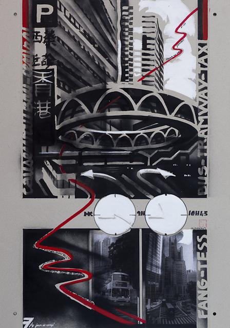 Jour de congé - N°7 - Techniques mixtes sur carton - Peinture de Michelle Auboiron d'après une nouvelle de Chantal Pelletier