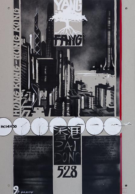 Jour de congé - N°9 - Techniques mixtes sur carton - Peinture de Michelle Auboiron d'après une nouvelle de Chantal Pelletier