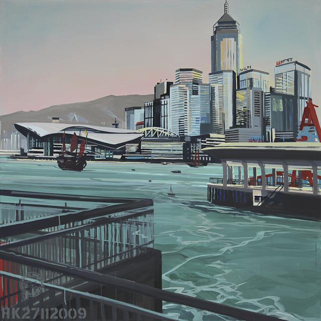 The Convention Centre - Peinture de Hong Kong - acrylique sur toile de Michelle Auboiron